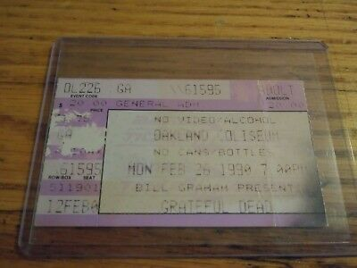 Grateful Dead Ticket, Oakland Coliseum, 02/26/1990