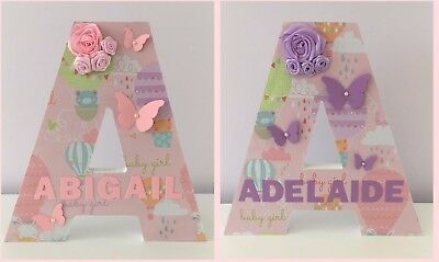 Large Wooden Decorated Letter~Personalised Baby Girls Name~New Mum Gift~Birthday