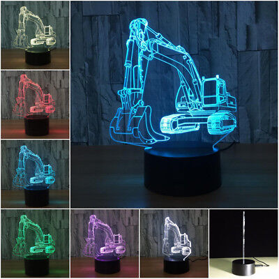 Excavator 3D Wireless 7-Color Remote Control Night Light Change LED Table Lamp