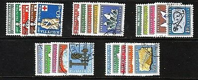 SWITZERLAND....  Pro Patria sets x5 different used  1957,58,59,60,61