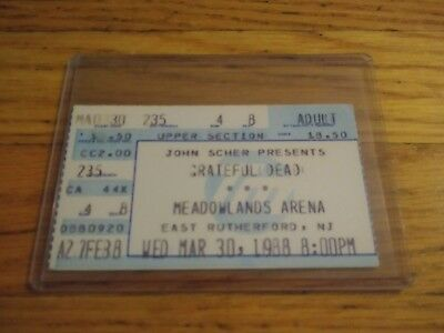Grateful Dead, Concert Ticket Stub, 03/30/1988, Meadowlands Arena