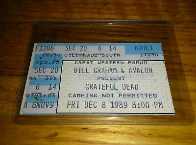 Grateful Dead, Concert Ticket Stub, 12/08/1989, Great Western Forum