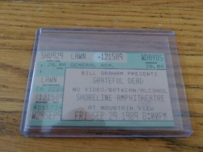 Grateful Dead, Concert Ticket Stub, 09/29/1989, Shoreline Amphitheatre, Mountain