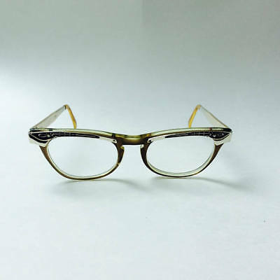 Vintage 1960s Cat Eye Glasses Eyeglasses Vista Librarian Metal Arm Plastic Frame