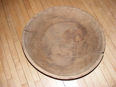Antique Primitive LARGE Used Hand-Turned Wooden Dough Bowl -17""