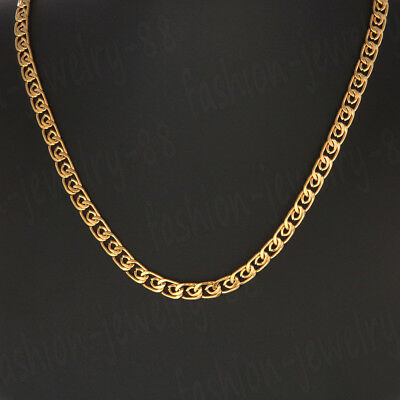 23.58'' Men Women Stainless Steel 8mm Gold Tone Cuban Curb Link Chain Necklace