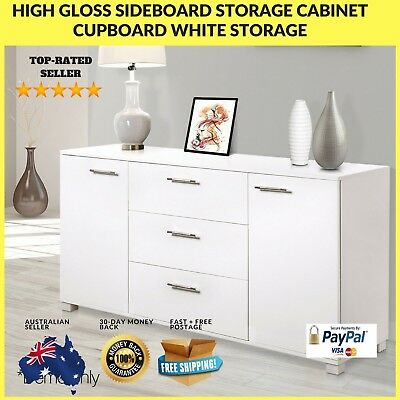 High Gloss Storage Cabinet Sideboard White Cupboard Buffet Dresser Table New Dra