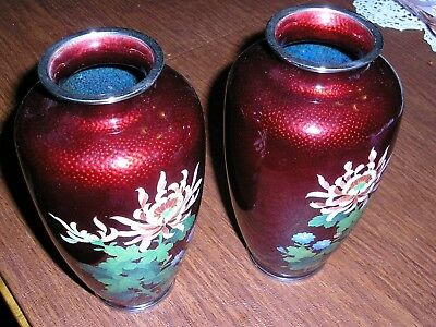 Pair Of Japanese Pigeon Blood Red Cloisonné Enamel Floral Vases