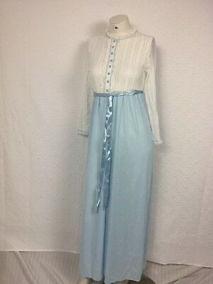 Vintage Victorian Lace Ribbon Night Gown SZ Small White Blue Semi-Sheer