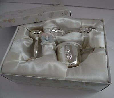 **new**silver Plated Spoon, Cup, And Rattle With Bunny~Baby  Keepsake