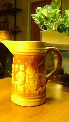 Antique 1870s Pitcher James Scollay Taft Pottery with H Hallmark