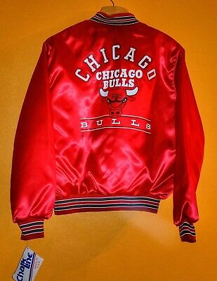 08701f75fc2840 MENS VINTAGE 1980 s CHICAGO BULLS CHALK LINE RED SATIN NBA JACKET XL NEW  RARE