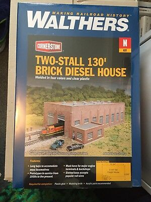 N Scale Walthers Cornerstone Two Stall Brick Diesel House