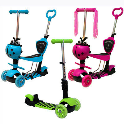 5 In 1 Scooter Ride On Bike Adjustable 3 Wheel Trike Baby Toddler Child Kid