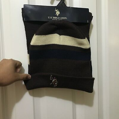 NWT U.S. POLO ASSN. 2 Piece Hat and Scarf brown, cream,