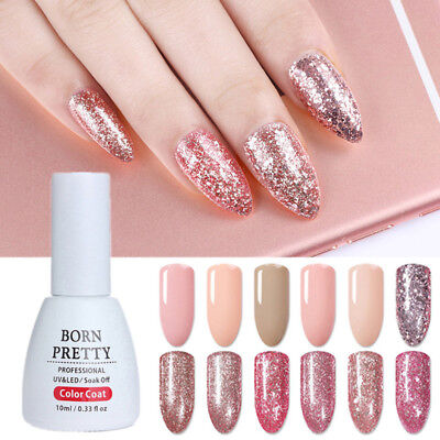 10ml Rose Gold Soak Off Nail Art UV Gel Polish Glitter Varnish Decor Born Pretty