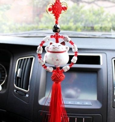 Maneki Neko Lucky Fortune Cat Fengshui Pendant Red Beading Ring Home Car Decor *