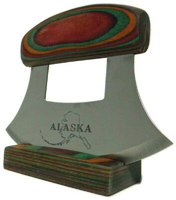Alaskan Ulu Knife with Multi-colored Handle and Etched Blade (Dark)