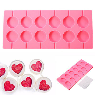 12-Capacity Round Silicone Lollipop Mold Sticks Baking Hard Candy Mould Pink