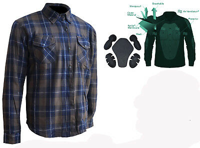 New Motorcycle Cotton Flannel DuPont™ KEVLAR® Shirt with CE armour blue/brown