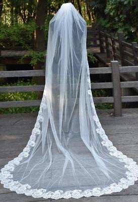 Ivory 1 Layer Chapel Length Wedding Bridal Veil Lace Edge 220cm Long with comb