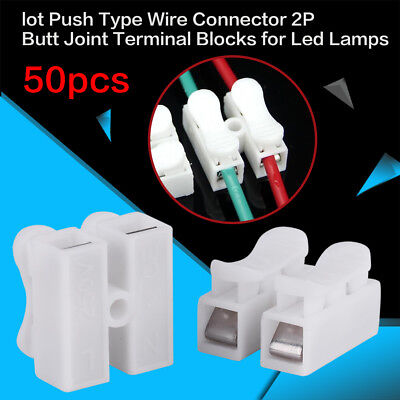 50x 2P CH2 Quick Connector Cable Terminal Block LED Strip Light Wire Connecting