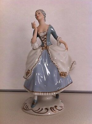 Royal Dux Porcelain Figurine/Statue of Lady with Fan, Czech Made