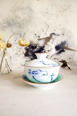 Hand Painted Lotus Porcelain Kung Fu Teacup.Boxed Never Been Used. Perfect