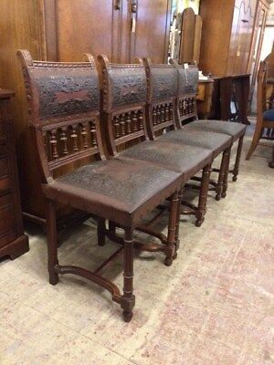 Antique Victorian Mahogany, Tooled leather, Set of four dining chairs.