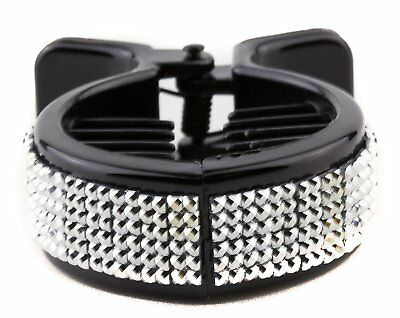Ponytail Ring Comb Claw Grip Silver Crystal Studded Round Inner Teeth Black Eb