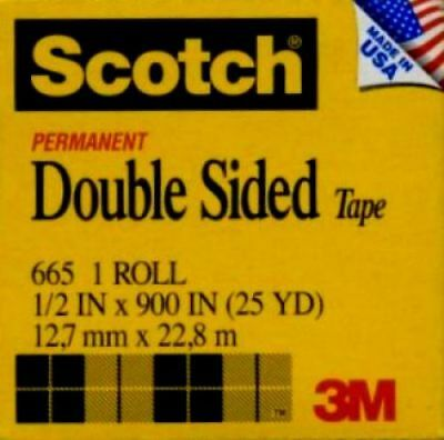 10 ROLLS SCOTCH TAPE Item #665 Double Sided 1/2 inch Permanent