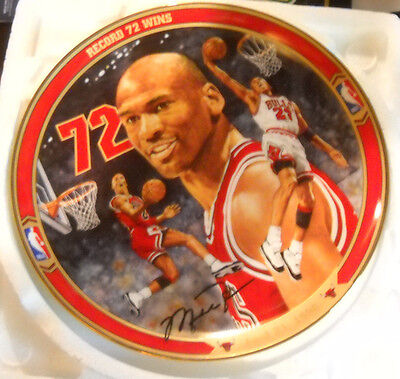 upper deck bradford michael jordan RECORD 72 WINS collectors plate coa bulls