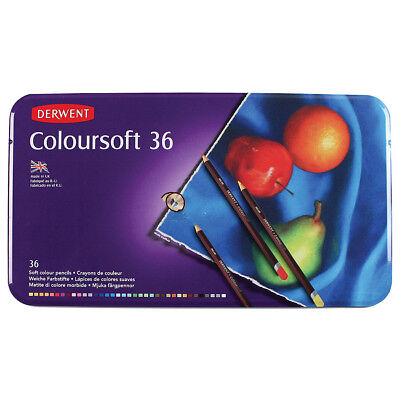Derwent Coloursoft Colouring Pencils Tin Set of 36 - Smooth Vibrant Artist