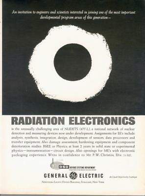 1962 General Electric GE Defense Systems Radiation NUDETS Vintage Print Ad 60s