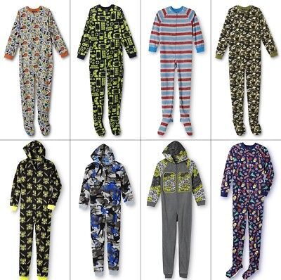 Boys Pajamas Blanket Sleeper One Piece Zipper Feet Christmas 4-6-8-10-14-16 S-XL