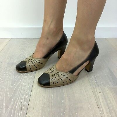 1930s, 1940s shoes, heel, slingbacks, vintage, leather, cutouts, with new sole