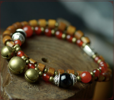 Two Layers Wood and Red Agate Bracelet (elastic)
