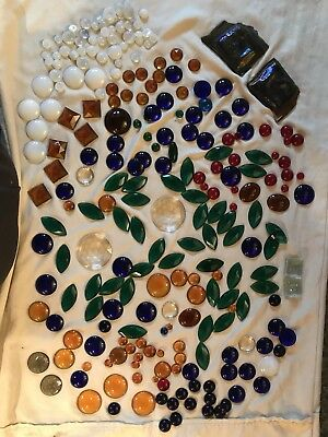 Vintage & Antique Huge 245 pc lot of assorted stained glass jewels