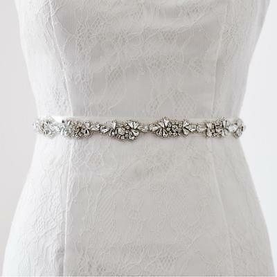 Vintage Crystal Flower Sash Wedding Bride Dress Belt White/Ivory/Champagne