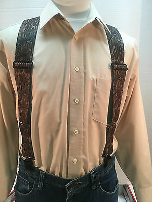 "New, Men's, Treestand Camo, Side Clip Suspenders/Braces, XL, 2"", Adj. Made n USA"