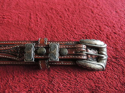 CIRCLE Y Hand Tooled Leather Western Belt with Sterling Silver Buckle 34 Mexico