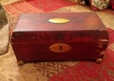 A Superb 19Th Century Leather Sarcophagus Shaped Sewing Box* Made In India*