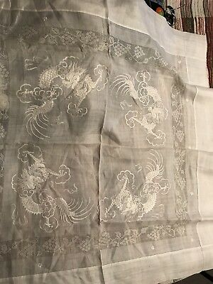 Vintage Chinese Dragon Silk Tablecloth