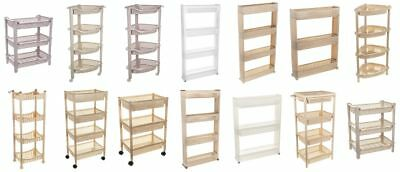 Slim Slide Out Kitchen Trolley Rack Holder Storage Shelf Organiser Rattan Unit