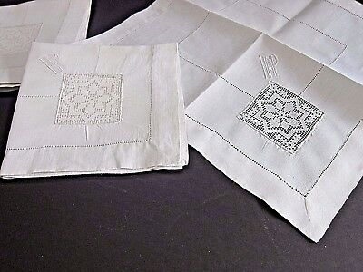 Antique Italian Net Darned Insertion Lace~SNOWFLAKE  White Linen  Napkins (6)