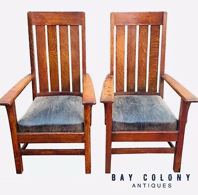 Pair Of Antique Arts & Crafts Mission Oak Library / Billiards Arm Chairs