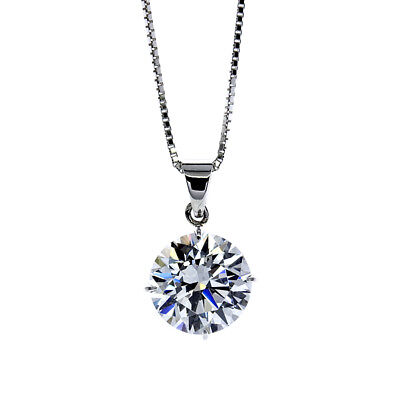 New 0.15ct VS2-F Natural Round Diamond Solitaire Pendant & Chain 14K White Gold