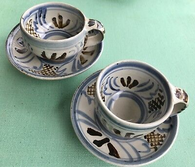 SETH CARDEW Two sm cups & saucers WENFORD BRIDGE POTTERY stoneware 1990s