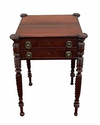19Th C Sheraton Antique Nightstand / Work Table ~ Salem , Massachusetts