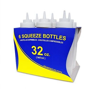 6 Squeeze Bottles New Star Foodservice Plastic Wide Mouth 32 Oz Clear Dispenser